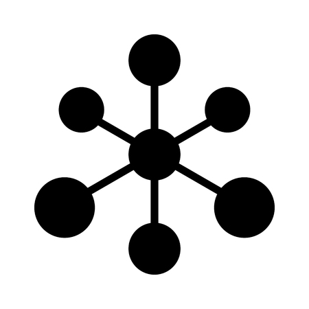 chemical bonds: Octahedral molecule or chemical compound with six bonding partners flat icon Illustration