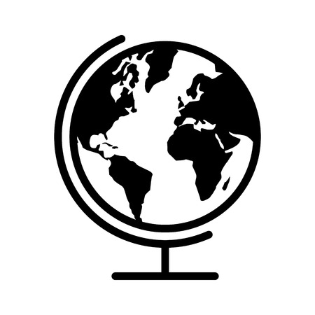 Geographical map globe with planet earth flat icon for apps and websites Illustration