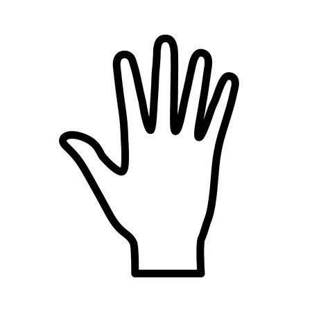 Hand or palm with fingers line art icon for apps and websites