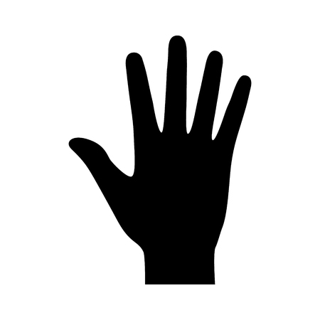Hand or palm with fingers flat icon for apps and websites