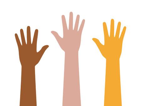 Mensen of studenten met hun handen omhoog flat kleur icoon voor apps en websites Vector Illustratie