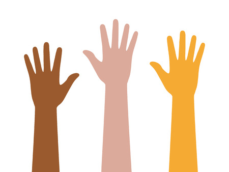 People or students with their hands raised flat color icon for apps and websites