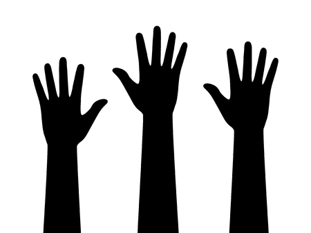 contributors: People or students with their hands raised flat icon for apps and websites