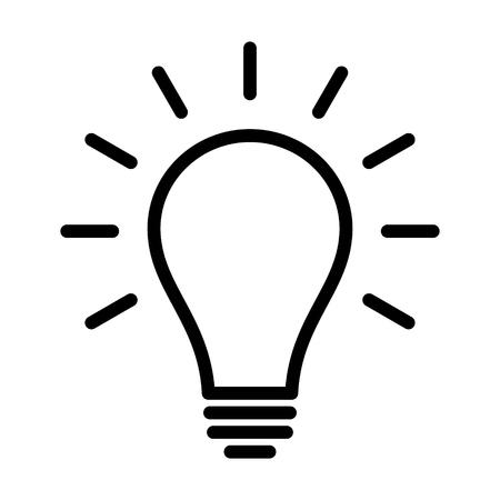 Gloeilamp  gloeilamp ingeschakeld of idee lijn kunst icoon voor apps en websites Stock Illustratie