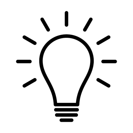 Incandescent light bulb / lightbulb turned on or idea line art icon for apps and websites