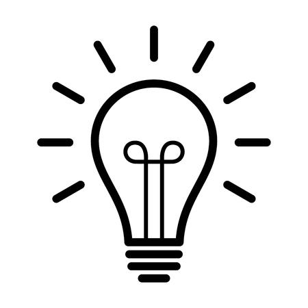 Vintage light bulb / lightbulb turned on or idea line art icon for apps and websites 일러스트