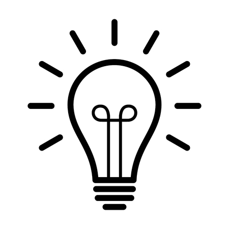 Vintage light bulb  lightbulb turned on or idea line art icon for apps and websites Illustration