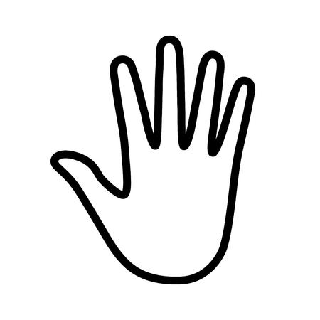 Handprint / empreinte de la main ou la paume ligne impression icône de l'art pour les applications et les sites Web