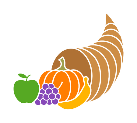 nourishment: Cornucopia horn of plenty or thanksgiving basket flat color icon for apps and websites