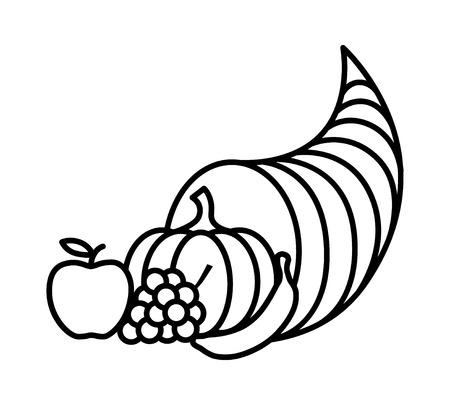 Cornucopia de cuerno de abundancia o icono de la cesta de la acción de gracias del arte de línea para aplicaciones y sitios web