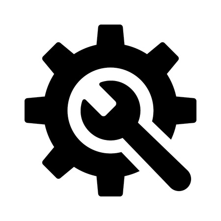 preferences: Wrench and gear  preferences or configurations flat icon for apps and websites