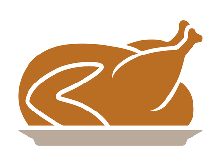 dinner plate: Thanksgiving turkey dinner on a plate flat color icon for apps and websites Illustration