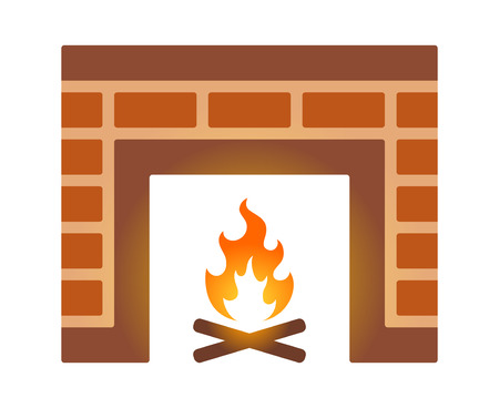 firebox: Brick fire place or fireplace flat color icon for apps and websites Illustration