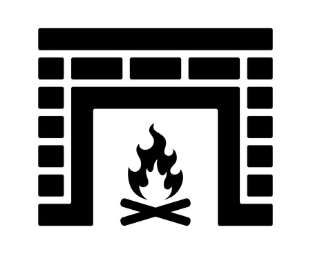 Brick fire place or fireplace flat icon for apps and websites