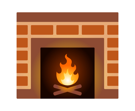 Brick fire place or fireplace with firewood flat vector illustration