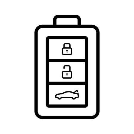 icon buttons: Car, automobile, vehicle keyless smart key with buttons line art icon for apps and websites