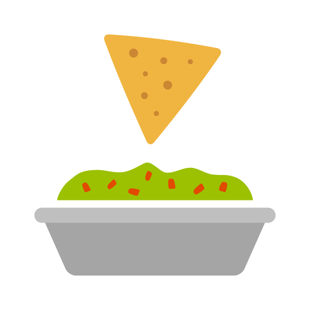 Tortilla chip or nachos tortillas with guacamole dip bowl flat color icon for apps and websites