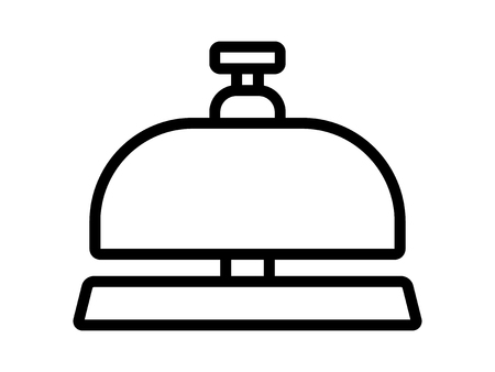 Hotel reception call bell or concierge service line art icon for apps and websites 向量圖像