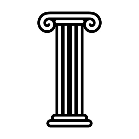 Roman column pedestal or pillar foundation line art icon for apps and websites