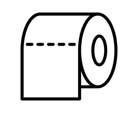 tissue paper art: Toilet tissue paper roll line art icon for apps and websites