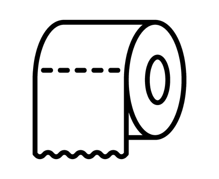 fecal: Toilet tissue paper roll with ridges line art icon for apps and websites Illustration
