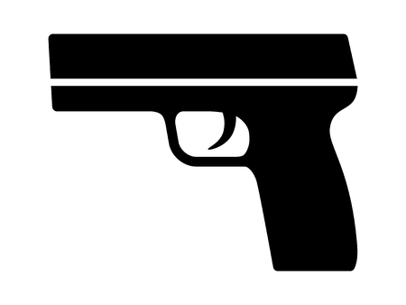 semi automatic: Modern semi automatic pistol gun weapon flat icon for games and websites Illustration