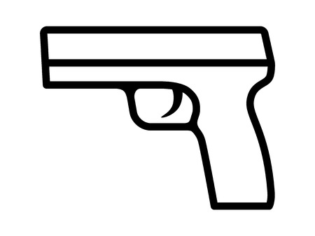 Modern semi automatic pistol gun weapon line art icon for games and websites Vettoriali