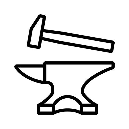 Schmied Crafting Amboss mit Kunstikone Hammer Linie für Spiele und Websites Standard-Bild - 68702983