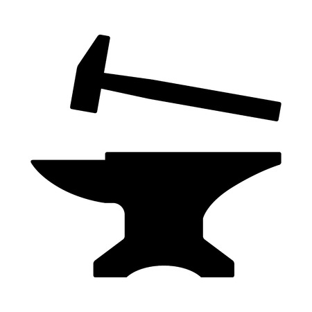Blacksmith crafting anvil with hammer flat icon for games and websites Vettoriali