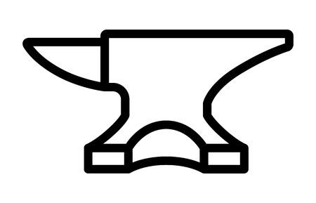 Blacksmith crafting anvil block line art icon for apps and games