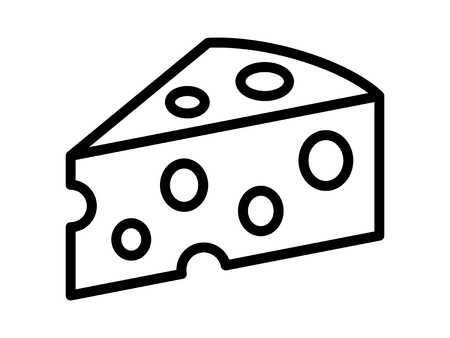 coagulation: Swiss cheese or Emmental cheese line art icon for food apps and websites