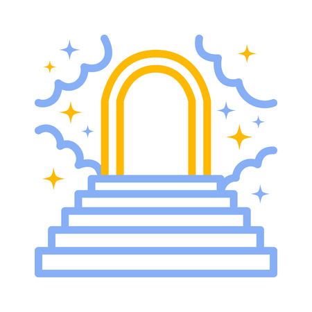 Heaven or paradise with stairs, clouds, stars and a heavenly gate color line art icon for apps and websites