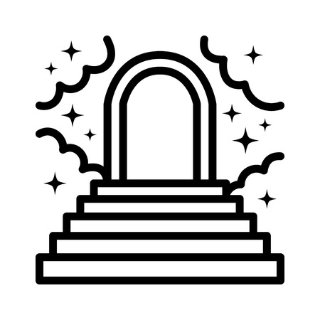 nirvana: Heaven or paradise with stairs, clouds, stars and a heavenly gate line art icon for apps and websites Illustration