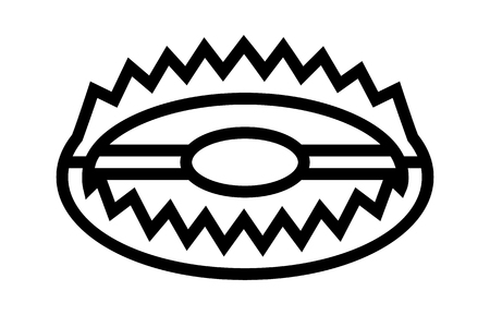 spiked: Animal trap or bear trap with jaws line art icon for games and websites