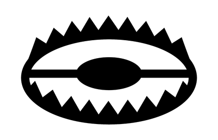 Animal trap or bear trap with jaws flat icon for games and websites