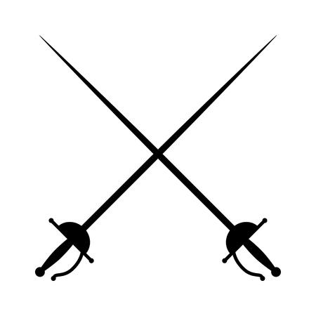 Crossed rapières / épées ou clôtures duel icône plat pour les jeux et les sites Web Vecteurs