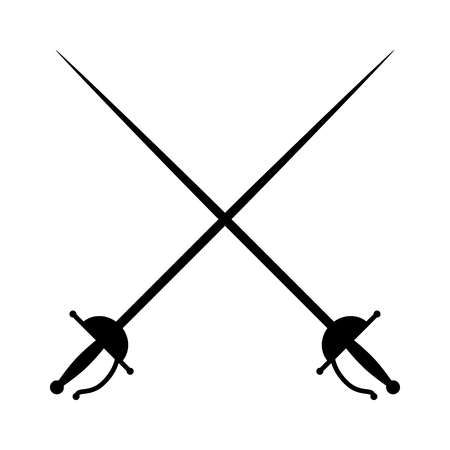 Crossed rapiers  swords or fencing duel flat icon for games and websites
