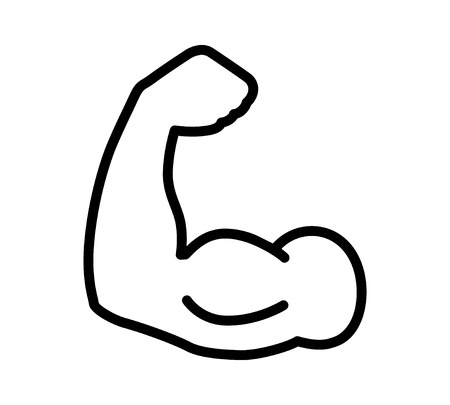 might: Flexing bicep muscle strength or power line art icon for exercise apps and websites