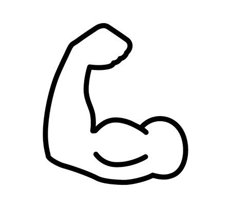 la fuerza muscular flexión bíceps o la línea de alimentación de gráficos de iconos de aplicaciones y sitios web de ejercicio