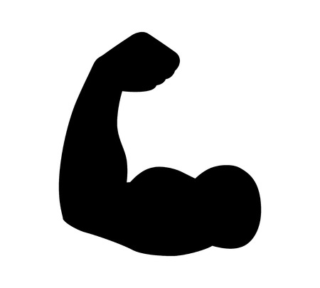 Flexing bicep muscle strength or power flat icon for exercise apps and websites