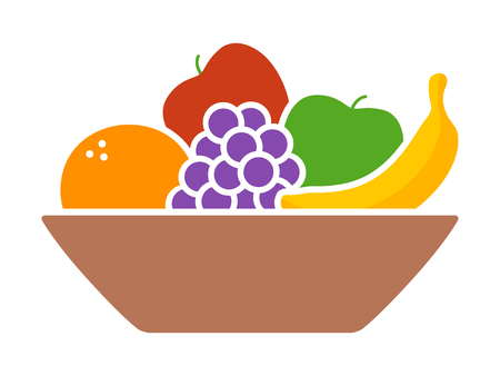 Kom fruit  fruit met sinaasappel, banaan, druiven en appels plat kleurrijk pictogram voor apps en websites Stock Illustratie