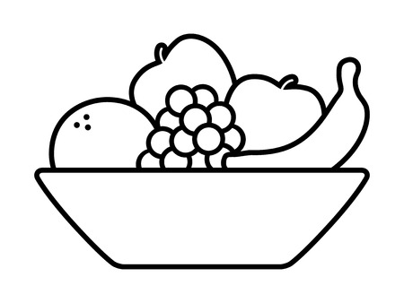 Bowl of fruit  fruits with orange, banana, grapes and apples line art icon for apps and websites Illustration