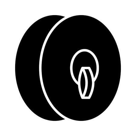 Cymbals: Clash cymbals or orchestral cymbals musical instrument with strap flat icon for music apps and websites Illustration