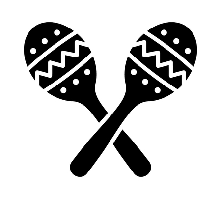 maracas: Crossed maracas, rumba shakers or shac-shacs musical instrument flat icon for music apps and websites
