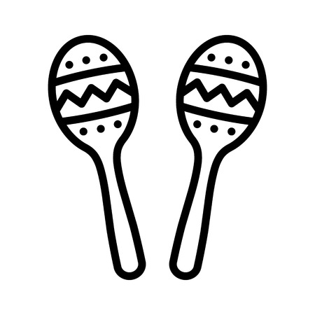 carribean: Maracas, rumba shakers or shac-shacs musical instrument line art icon for music apps and websites Illustration