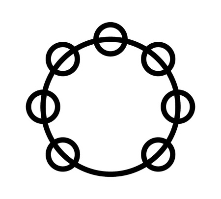 Headless tambourine musical instrument line art icon for music apps and websites