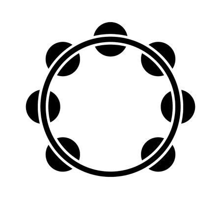 音楽アプリとウェブサイトのヘッドレス タンバリン楽器フラット アイコン  イラスト・ベクター素材