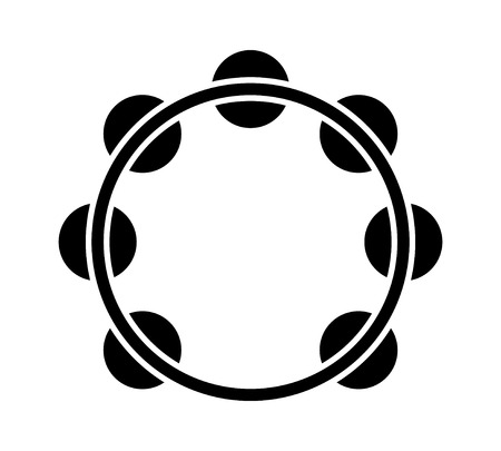 Headless tambourine musical instrument flat icon for music apps and websites Illustration