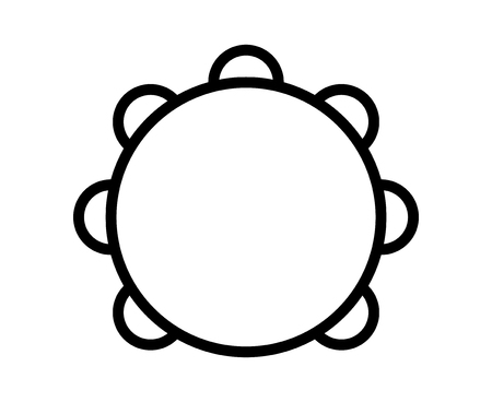 Tambourine musical instrument with drumhead line art icon for music apps and websites