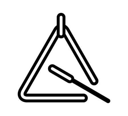 Triangle musical instrument with beater line art icon for music apps and websites Çizim